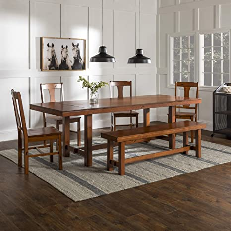 WE Furniture Rustic Farmhouse Rectangle Wood Dining Room Table Set with  Leaf Extension, 60 Inch, 6 to 8 Person, Brown Oak