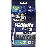 Gillette Blue3 Comfort Disposable Men's Razors, 9+3 Count