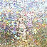 Rabbitgoo Película de privacidad para ventanas, adhesivos para ventanas de arco iris, vinilo decorativo para ventanas en…