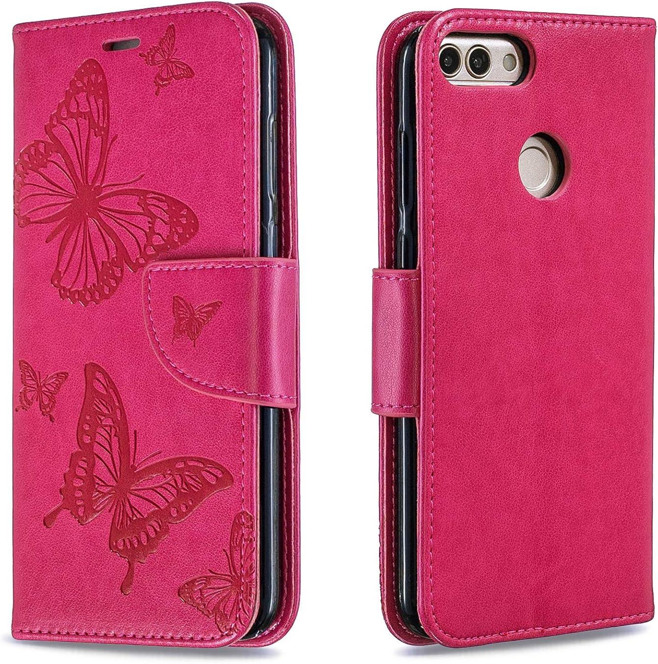 Lomogo Leather Wallet Case with Kickstand Card Holder Shockproof Flip Case Cover for Huawei P Smart LOBFE140187 Gold Huawei P Smart Case