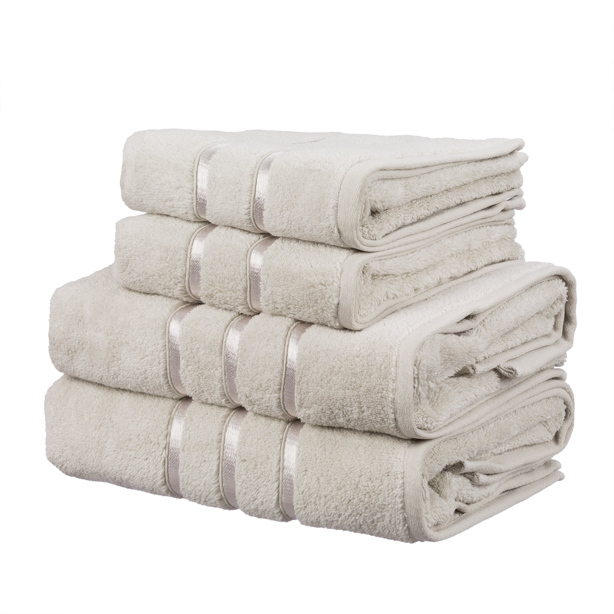 Hobby Dolce Luxury 100% Turkish Cotton Towel 4-Piece Set –5-Star Hotel & Spa-Grade Ultra-Absorbent & Super-Soft Bathroom Towel, 2 x Hand Towels, 2 x Bath Towels (Brown)