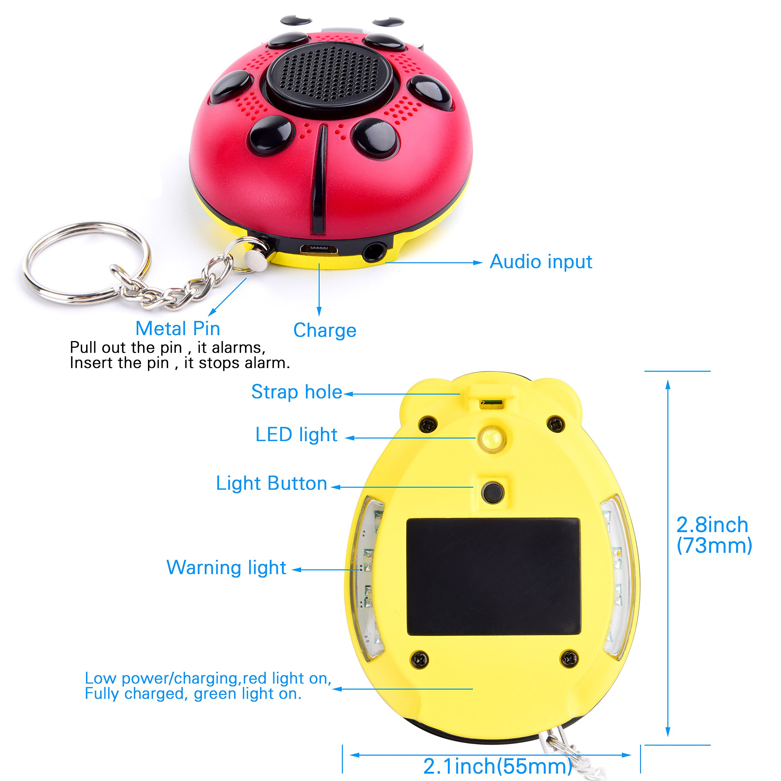iDaye 130DB SOS with siren song voice Ladybug Emergency Personal alarm keychain,Protection Device with colorful flash work for kids/elderlies/owls and adults,Used as a speaker or electric torch. by iDaye (Image #3)