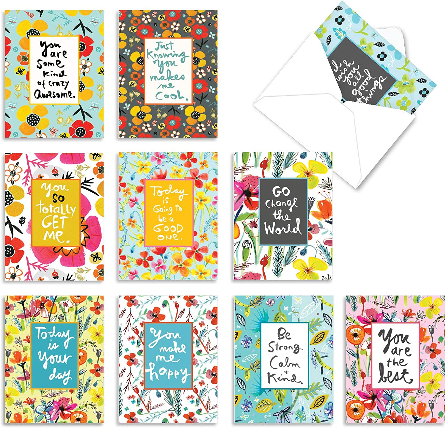 10 PACK OF BLANK NOTE CARDS WITH ENVELOPES 4 SAYINGS FRIENDS LOVE BEAUTIFUL LIFE