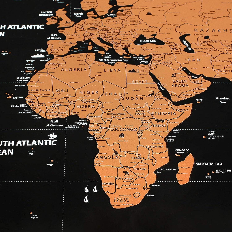 Cartina Mondo Con Bandiere.Justech Mappa Del Mondo Da Grattare Con Bandiere Poster Mappa Del Viaggio Cartina Geografica Alta Qualita Per Viaggiatori Tracciatura Di Viaggio Regalo Arredo Parete 82 X 59 Cm Cancelleria E Prodotti Per Ufficio Materiale