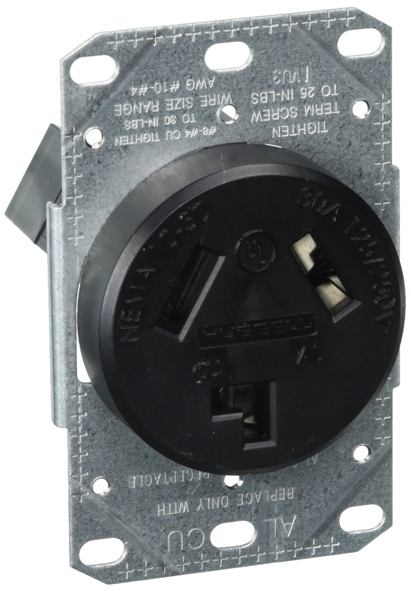 Range & Dryer Flush Receptacle, 30 Amp, 125/250V, Nema 10-30R, 2-Pole, 3-Wire, Black