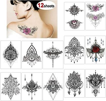 Konsait Tatuajes temporales para adultos Mujer (12 hojas ...