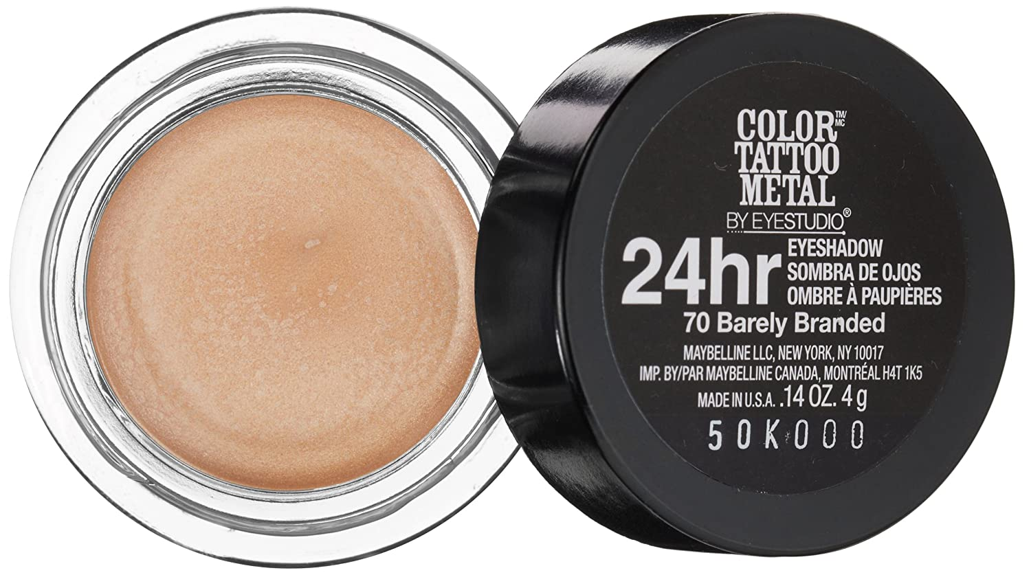 MAYBELLINE Eye Studio Color Tatoo Metal 24Hr Cream Gel Eye Shadow Barely Branded: Amazon.es: Salud y cuidado personal