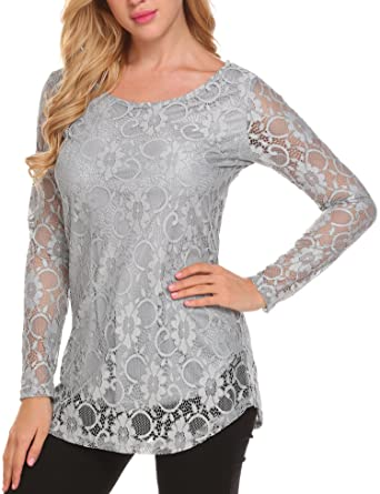 57b9d14fd1c31 SoTeer Women's Lace Shirts Scoop Neck Trendy Ethnic Pattern Patchwork Tops  Blouses Grey S