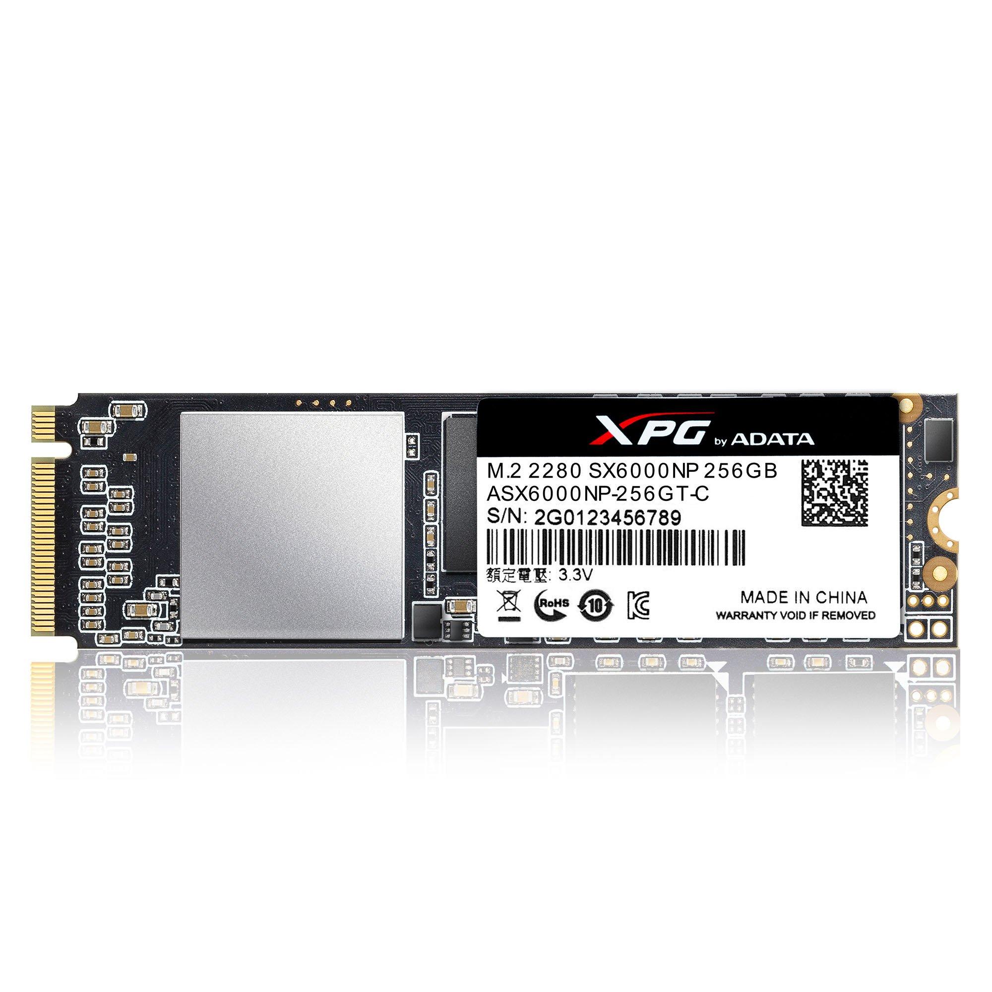 ADATA XPG SX6000 PCIe 256GB 3D NAND PCIe Gen3x2 M.2 2280 NVMe 1.2 R/W up to 1000/800MB/s Solid State Drive (ASX6000NP-256GT-C) by ADATA