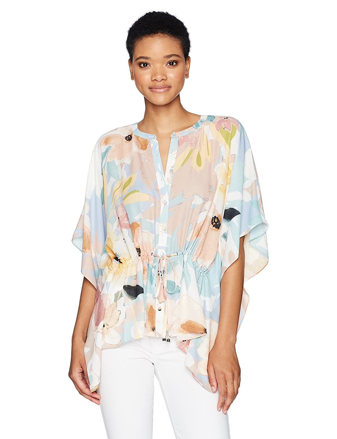 Watercolor Floral Catherine Malandrino Womens Komai Blouse  Floral Blouse