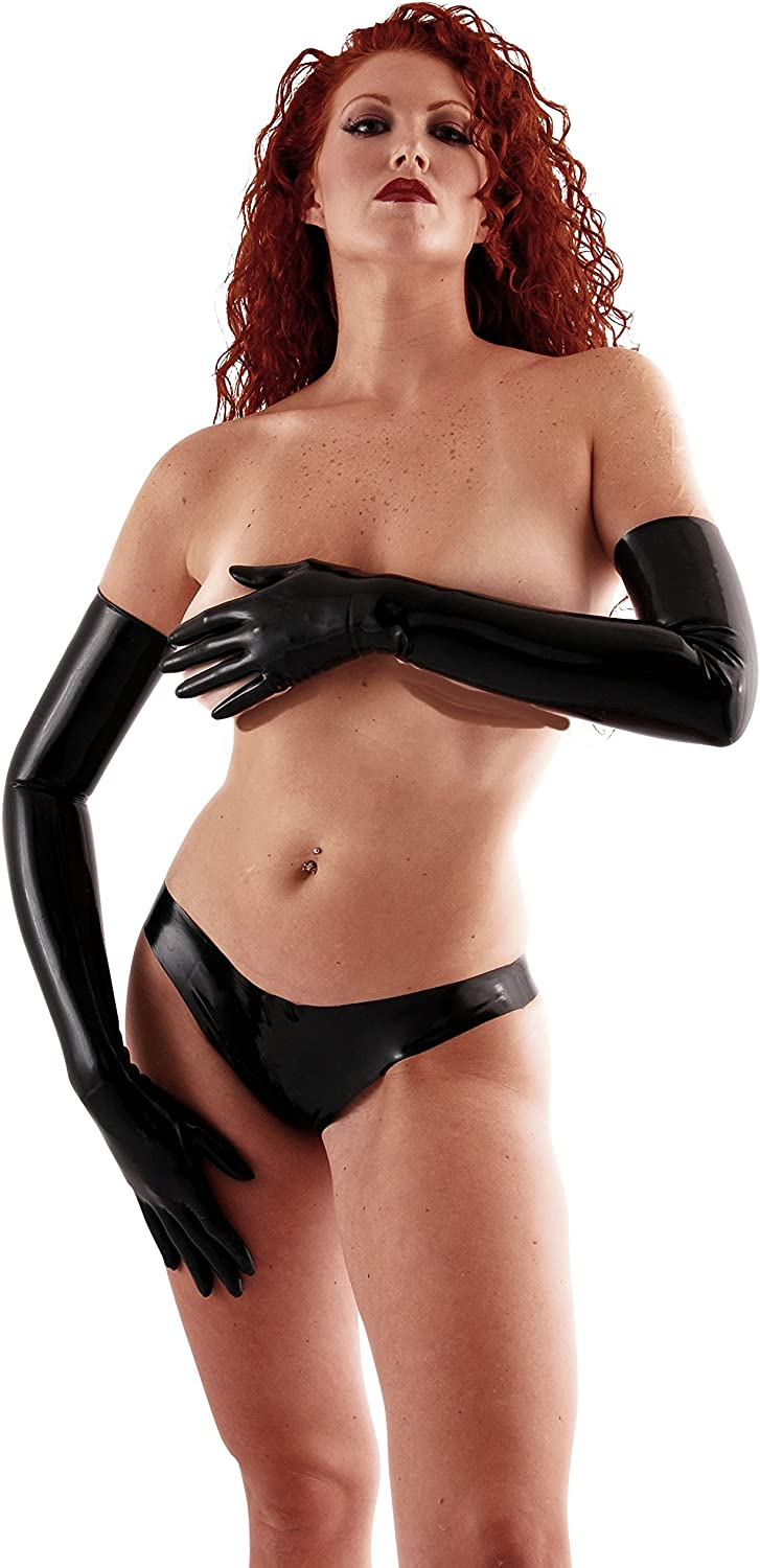 Black Chlorinated Latex Long Gloves Fetish Opera Length