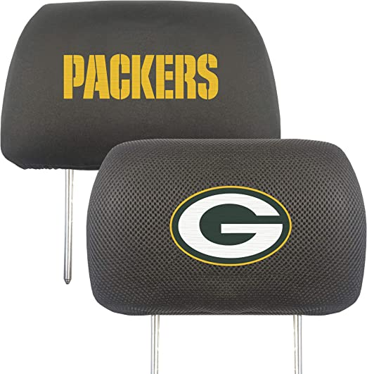 Nobrand Set of 2 for Green Bay Packers Headrest Covers Green Bay Packers Luxury Black Fabric HeadRest Cover with Printed Green Bay Packers Logo,Universal Fits to All Car Models