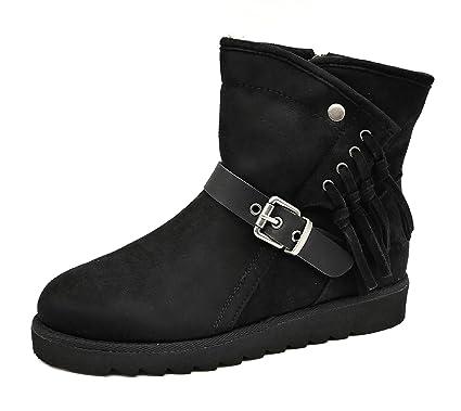 warm gefütterte Basic Damen Schuhe Flats Stiefelette Boots  Halbschaftstiefel Fransen Velourhaptik Reißverschluss (8289) (