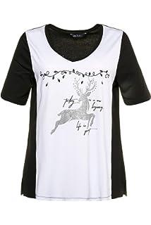 ffcaf3b1c6b Ulla Popken Femme Grandes Tailles T-Shirt col V imprimé Devant et Strass  717811
