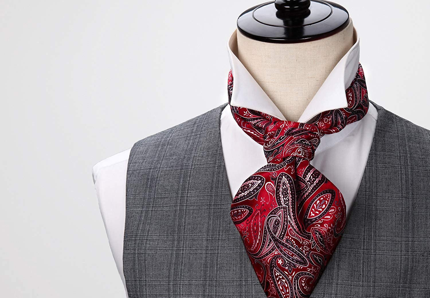 HISDERN Mens Paisley Floral Ascot Jacquard Woven Cravat Tie and Pocket Square Set