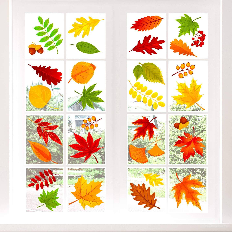 12 Sheets Adoreu 12PCS Fall Leaves Window Clings Autumn ...