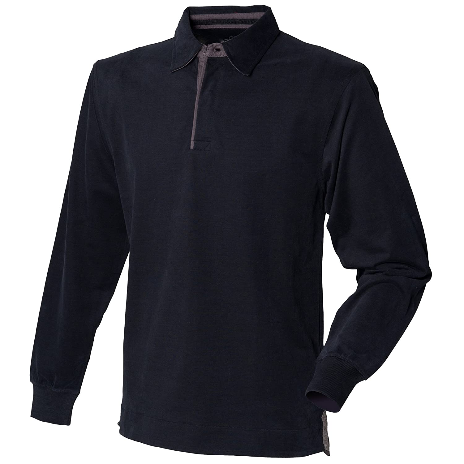 c7e8699ff8c Front Row Mens Long Sleeve plain drill Cotton Rugby shirt Navy,White ...
