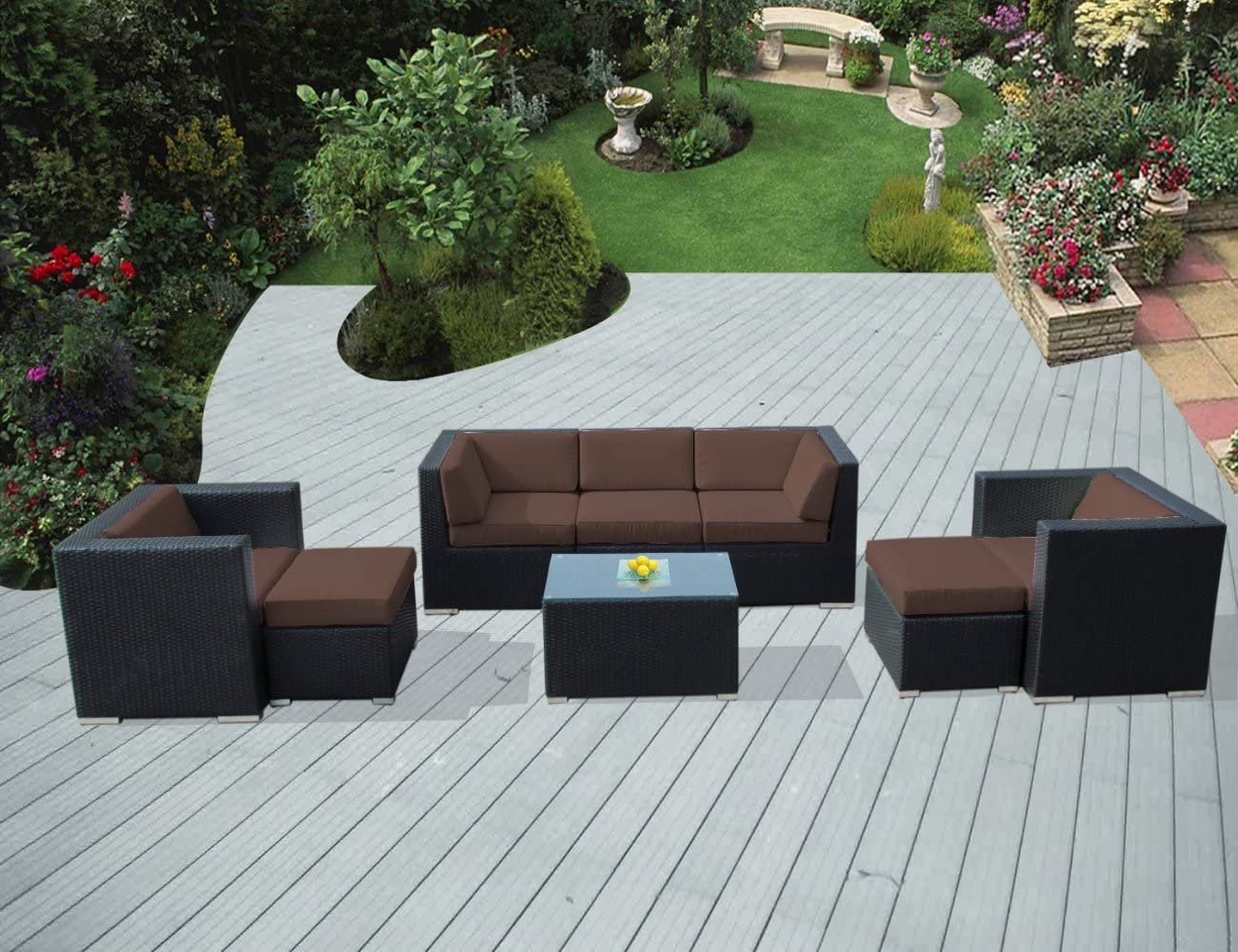Ohana 8-Piece Outdoor Patio Furniture Sectional Conversation Set, Black Wicker with Brown Cushions – No Assembly with Free Patio Cover
