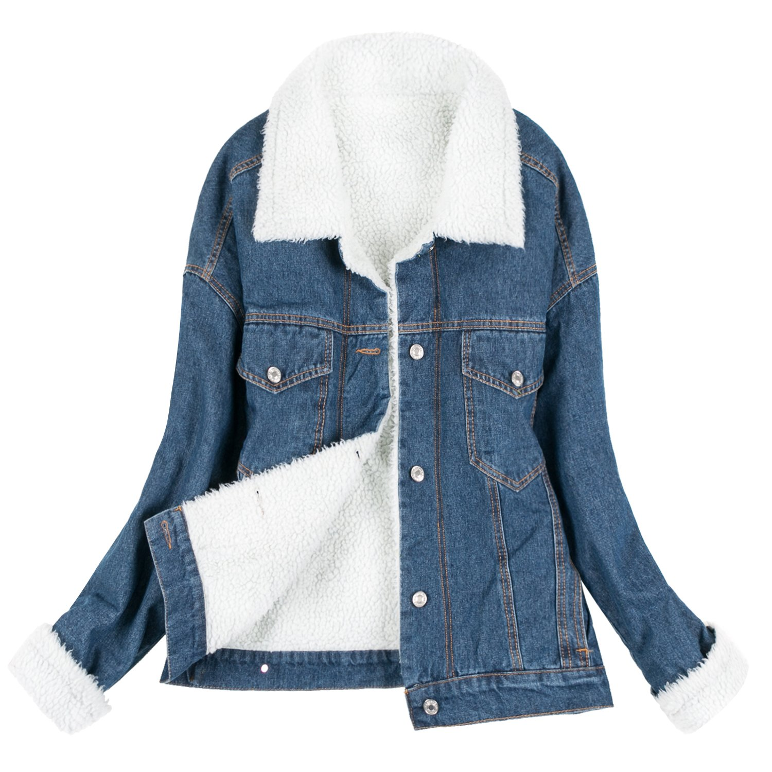 Dark bluee Howels Women Sherpa Lined Oversized Vintage Denim Boyfriend Casual Short Jacket