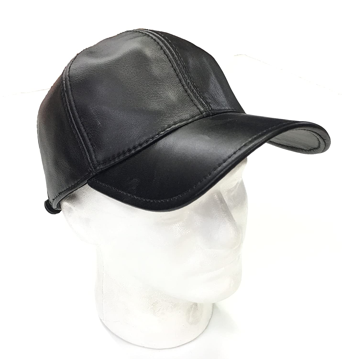 d38beaa9b9f383 100% Men's Leather Hat with Ear Cover (Black) at Amazon Men's Clothing store :