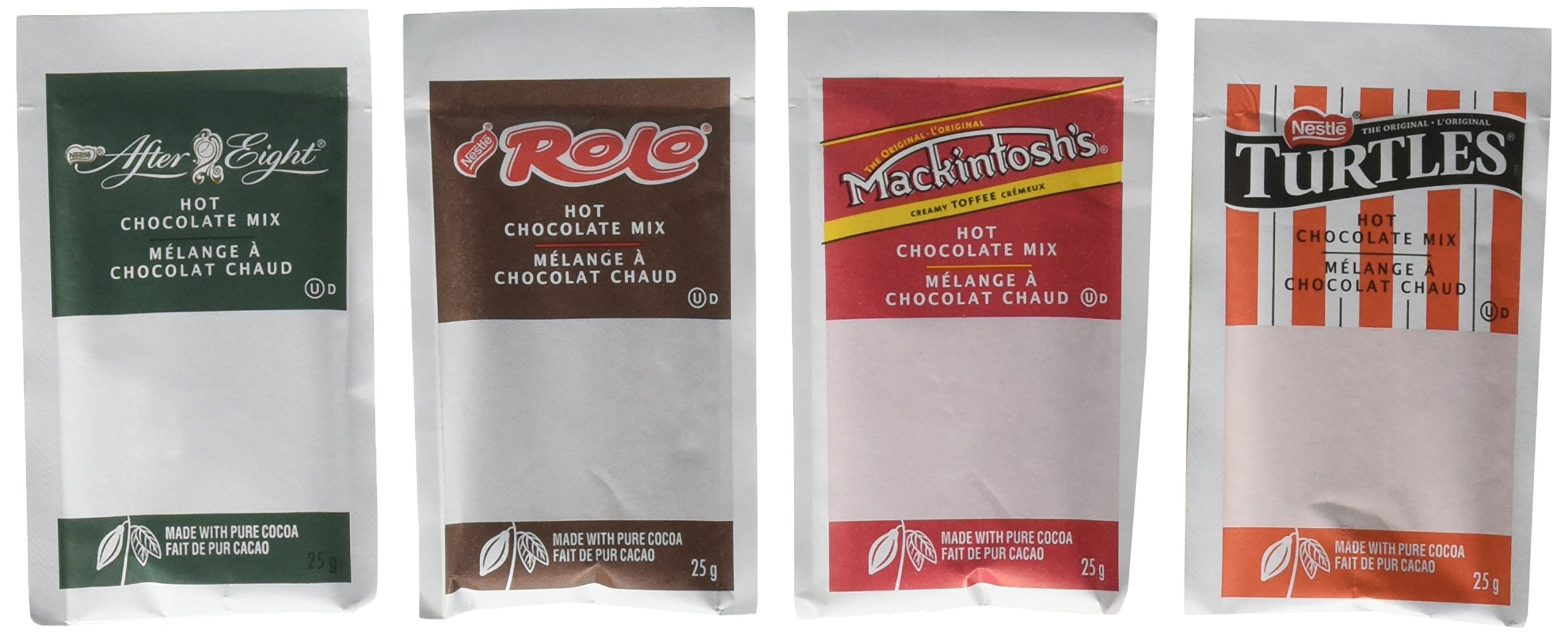 CDM product Nestle Carnation Hot Chocolate Variety Pack, Rolo, Mackintosh Toffee, After Eight, Turtles, 40-Count Box, 25g Envelopes big image