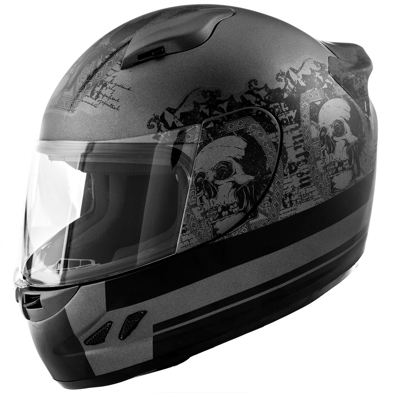 Amazon.es: Dot motocicleta casco cara completa calavera Koi mate gris w/visera - XL