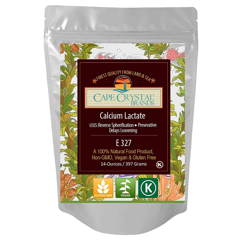 Calcium Lactate   100% Food Grade & Non-GMO Direct & Reverse Spherification Agent   Kosher Certified & Flavorless Ingredient for Molecular Gastronomy   14-oz