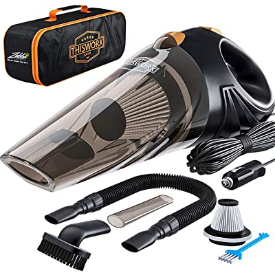 Portable Car Vacuum Cleaner: High Power Corded Handheld Vacuum w/ 16 foot cable - 12V - Best Car & Auto Accessories Kit for Detailing and Cleaning Car Interior: Automotive