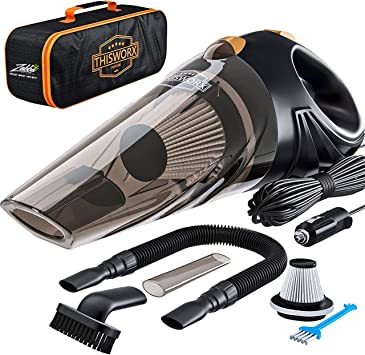 ThisWorx Car Vacuum Cleaner 106Wm, 12v, Corded, Portable Hand Held Vacuum Cleaner for Car Interior Care