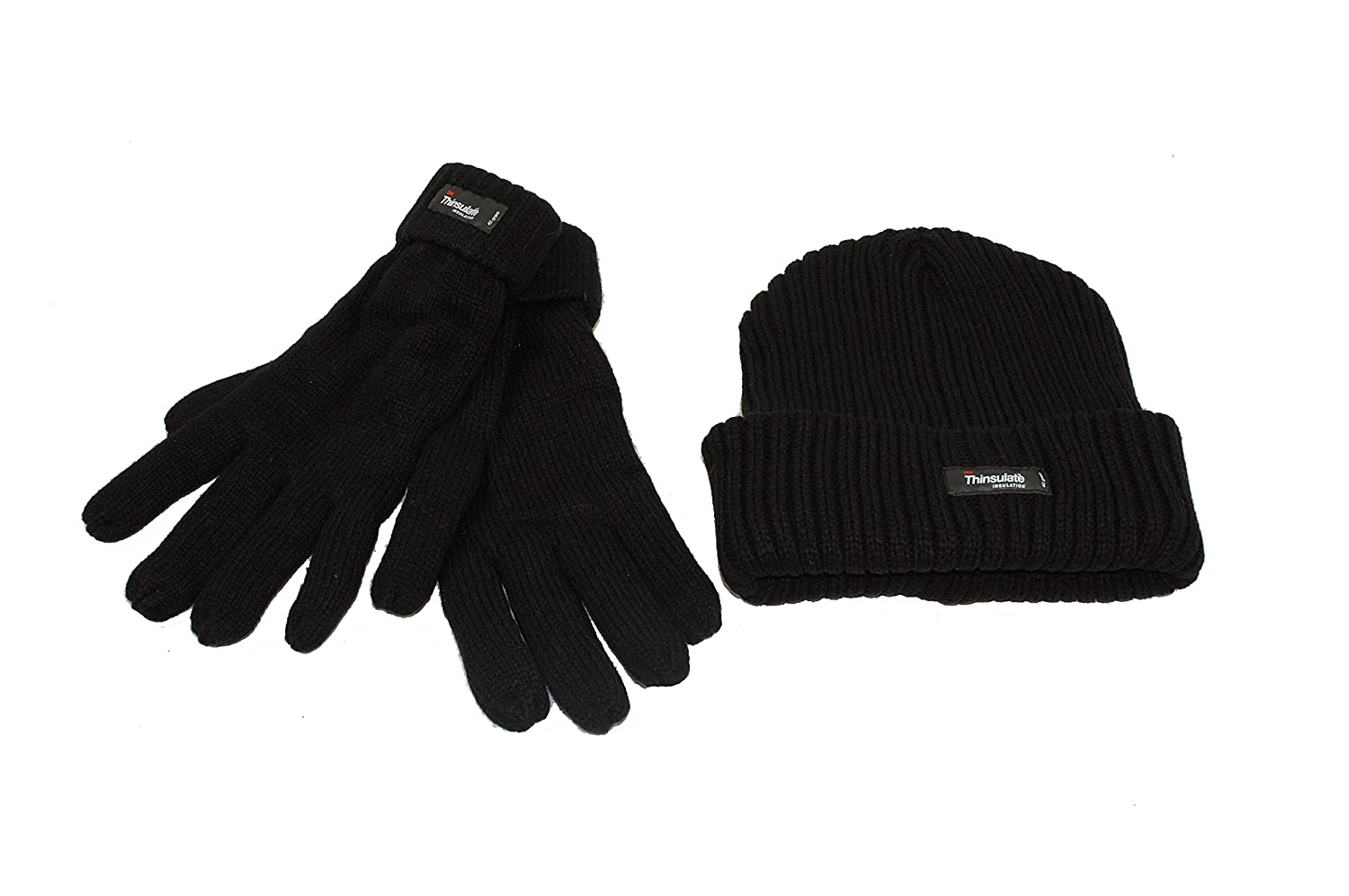 Men's Chunky Knit Thinsulate Hat and Glove Set. Grey or Navy Blue (Black)