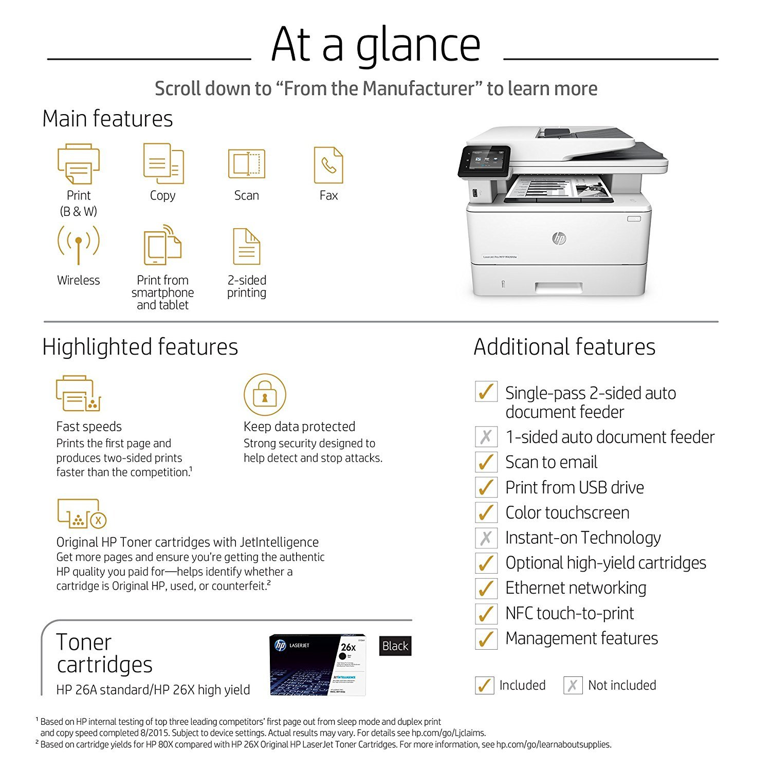 HP LaserJet Pro M426fdw All-in-One Wireless Laser Printer with Double-Sided Printing, Amazon Dash Replenishment ready (F6W15A) by HP (Image #5)