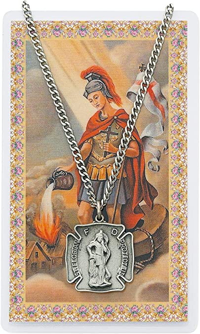 Saint Florian Shield Shaped Pewter Medal Pendant Necklace with Holy Prayer Card