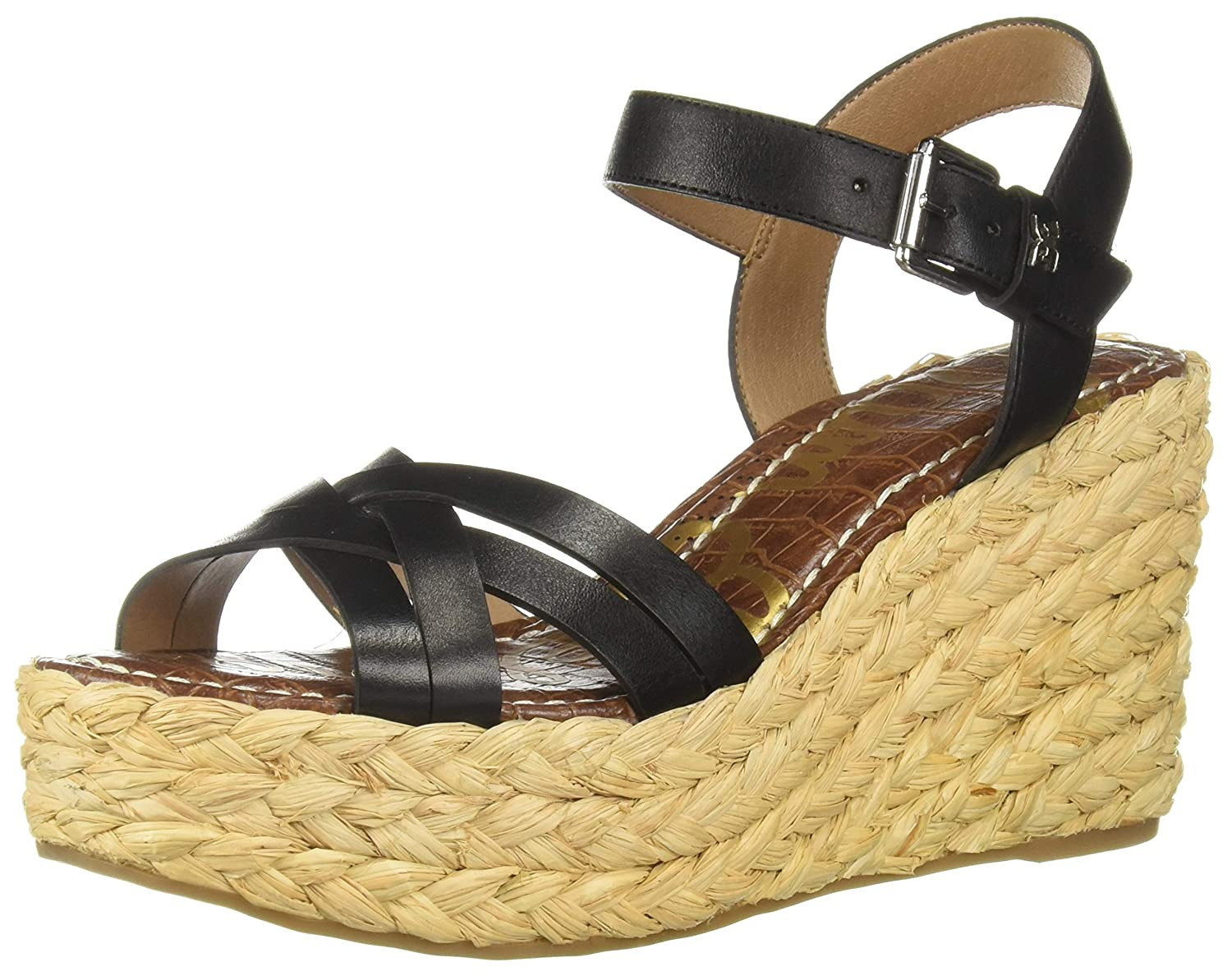 Black Leather Sam Edelman Womens Darline Heeled Sandal