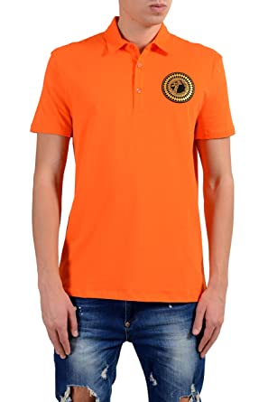 1539c93e7 Image Unavailable. Image not available for. Color  Versace Collection Men s  Orange Logo Short Sleeve Polo ...