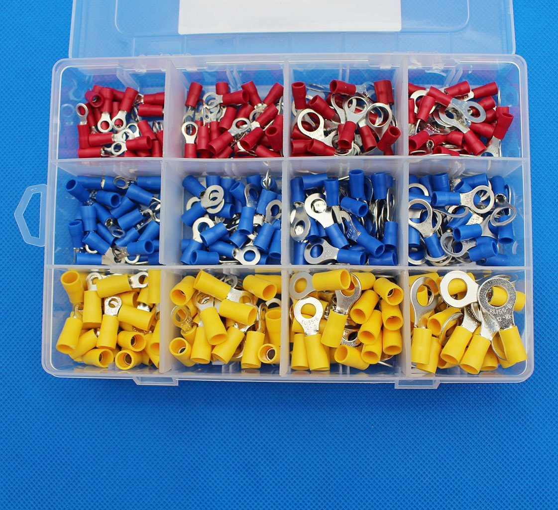 Raogoodcx 300 Pcs Insulated Terminal Ring Electrical Wire Crimp Connectors Set, Yellow, Blue, Red