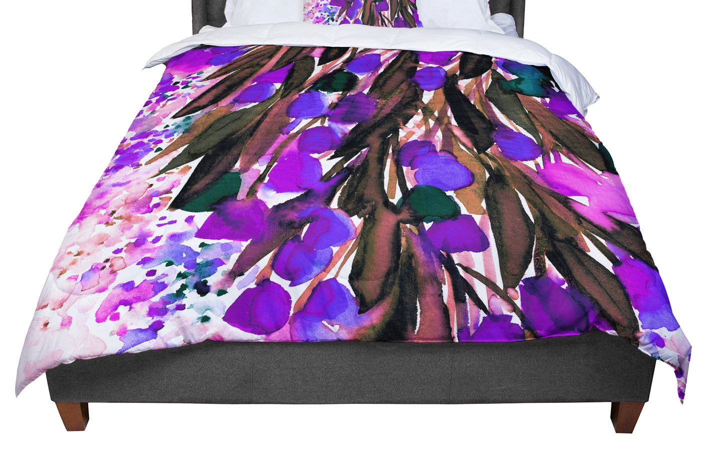 88 X 88 KESS InHouse Laura Escalante Midnight Florals Black Sunflower Queen Comforter