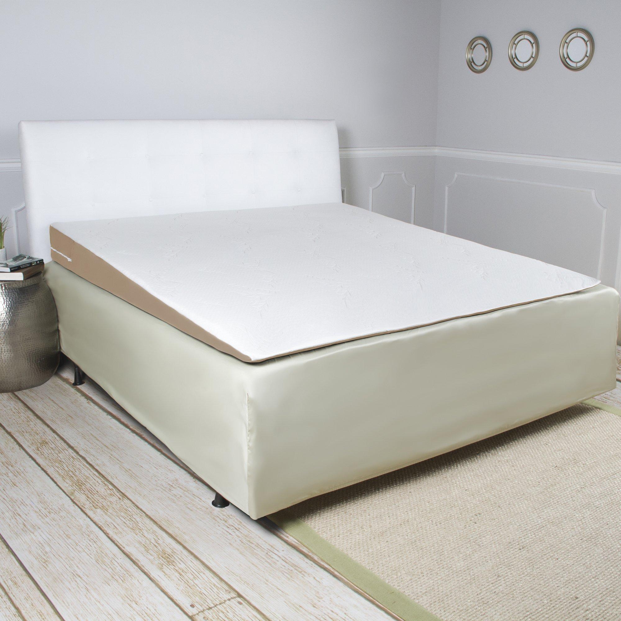 Avana Inclined Memory Foam Mattress Topper Wedge, Queen-Size Bed