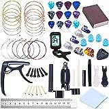 64 PCS Guitar Accessories Kit, Guitar Strings Changing Kit, Guitar Tool Kit Including Acoustic Guitar Strings, Picks, Capo, Thumb Finger Picks, String Winder, Bridge Pins, Pin Puller, Pick Holder