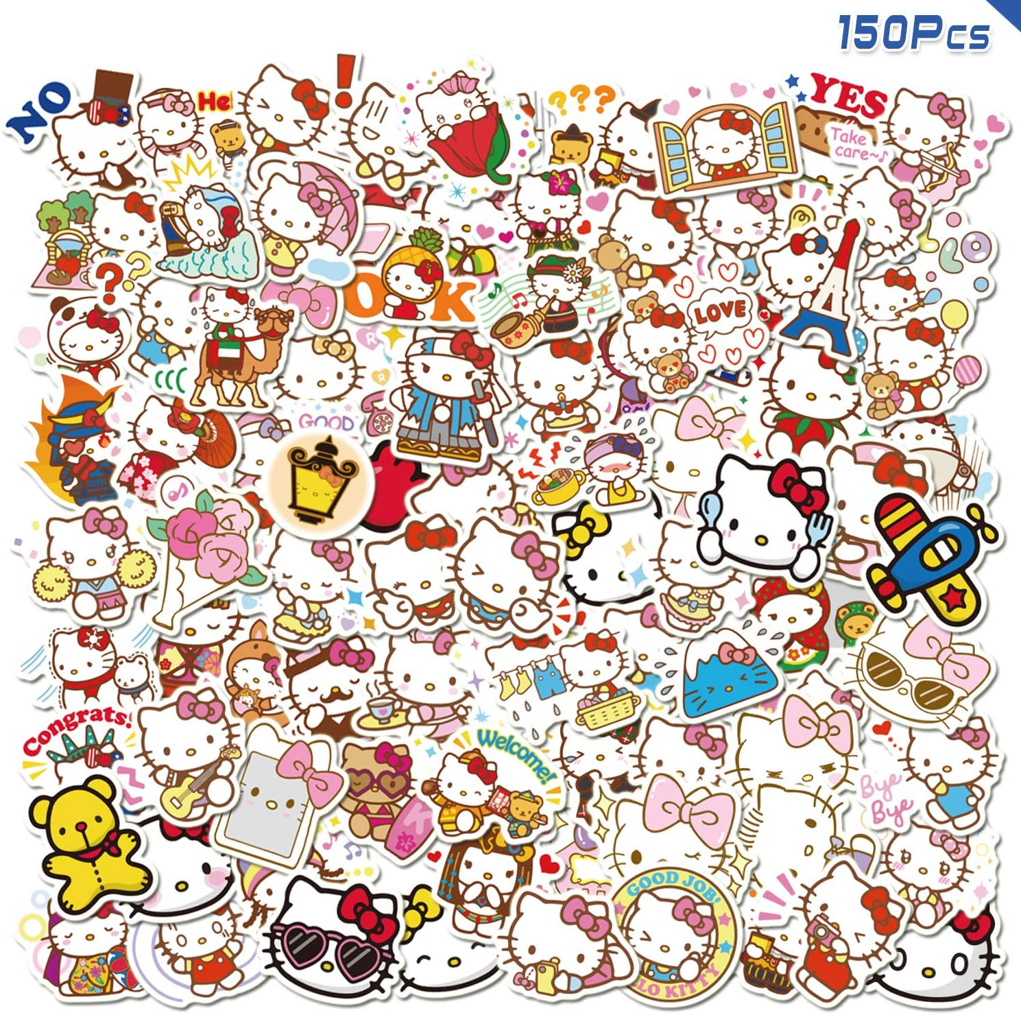 GorgeousZen Hello Kitty Stickers 150pcs Sanrio Anime Vinyl Kawaii KT Cat Sticker for Teen Laptop Skateboard Bicycle Waterproof Decal Car Decoration