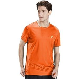 ランニングtシャツ 通気速乾 半袖 スポーツ トレーニングウェア 薄手 夏 メンズ(オレンジ,M)