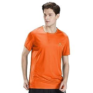 ランニングtシャツ 通気速乾 半袖 スポーツ トレーニングウェア 薄手 夏 メンズ(オレンジ,L)