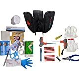 amiciAuto Car Emergency 2 in 1 Set of First Aid Kit and Tubeless Tyre Puncture Repair Kit with Carry Bag