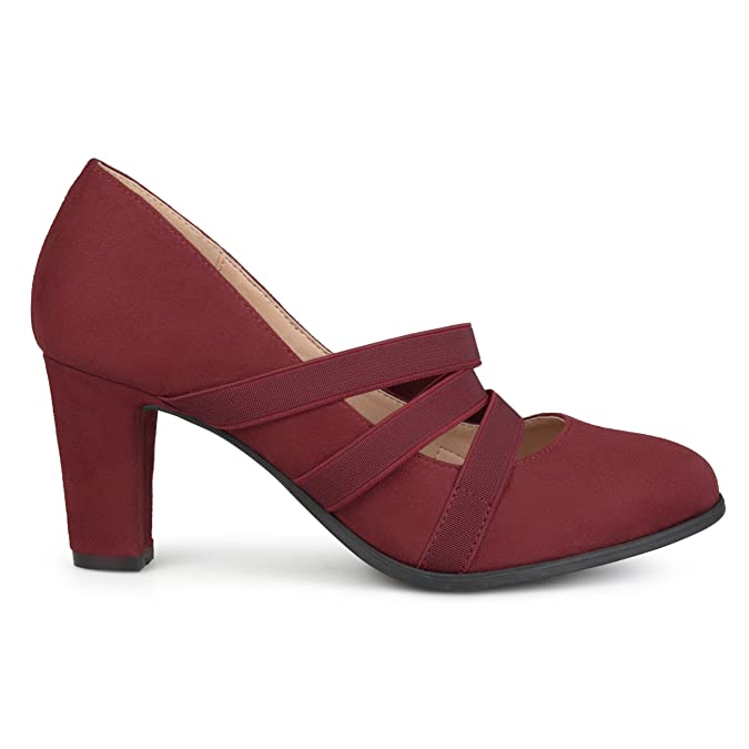 Vintage Style Shoes, Vintage Inspired Shoes Brinley Co. Womens Levin Faux Suede Comfort Sole Chunky Heel Almond Toe Triple Elastic Strap Heels $39.99 AT vintagedancer.com