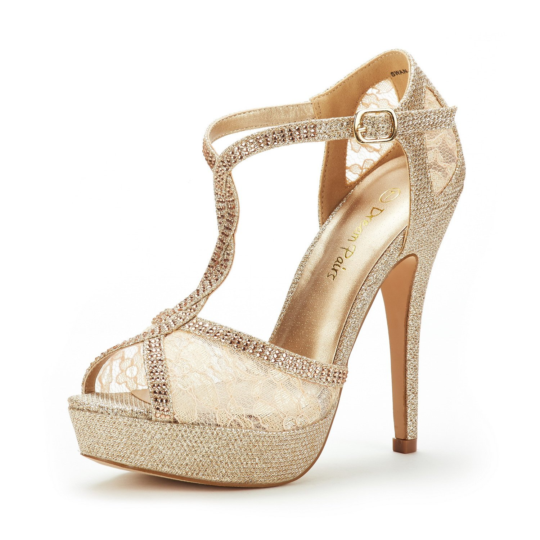 DREAM PAIRS Women's Swan-16 Gold Fashion Stilettos Peep Toe Pump Heeled Sandals Size 7.5 B(M) US