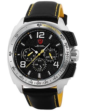 Shark SH415 - Reloj Hombre de Cuarzo, 6 Manecillas, Cuero Auténtico Negro: Amazon.es: Relojes