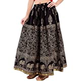 Ooltah Chashma Women's Cotton Skirt (SKRT-069__Black_Free Size)