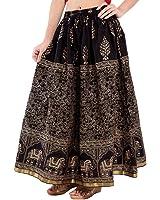 Ooltah Chashma Women's Cotton Skirt (SKRT-069__Black_Free Size)