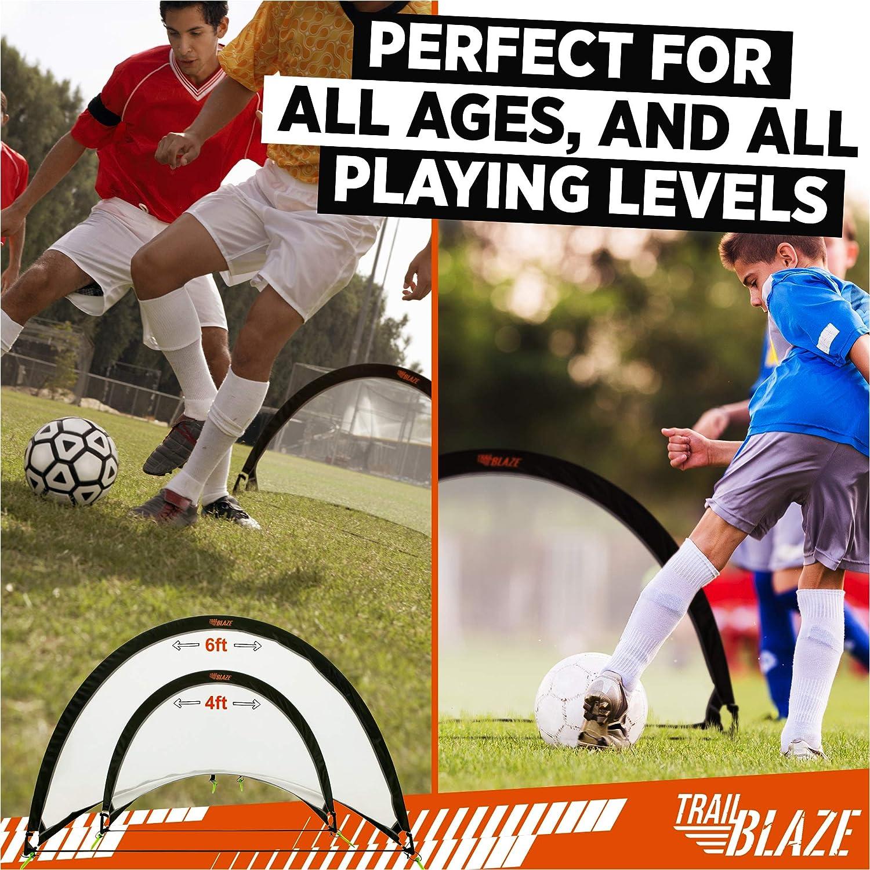 2 Portable Kids Soccer Goals 8 Training Disc Cones Extra Pegs Carry Case Ideal Soccer Nets for Kids Backyard Trailblaze Pop Up Soccer Goal Set