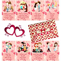 Fluffick Love Cards with Beautiful Envelope | Valentine, Birthday, Anniversary Gift for Your Loved Once (Set of 8 Cards)