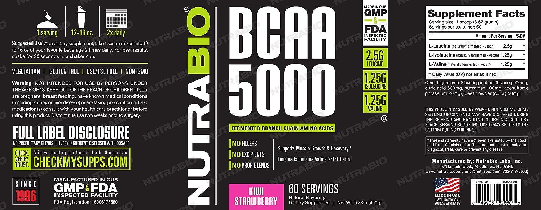 NutraBio BCAA 5000 Powder – 60 Servings Kiwi Strawberry